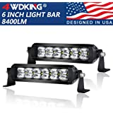 4WDKING LED Light Bar 6 inch 2PCS Screwless 50W IP69K Waterproof Off-Road Combo LED Work Light Super Bright Truck…