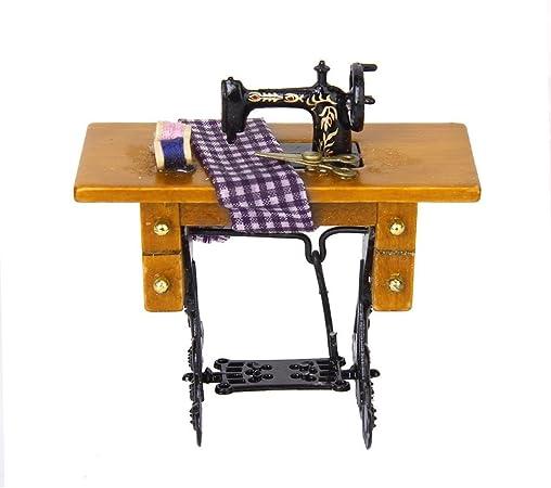 jinzhicheng 1/12 Vintage decorativo gamuza de máquina de coser con ...