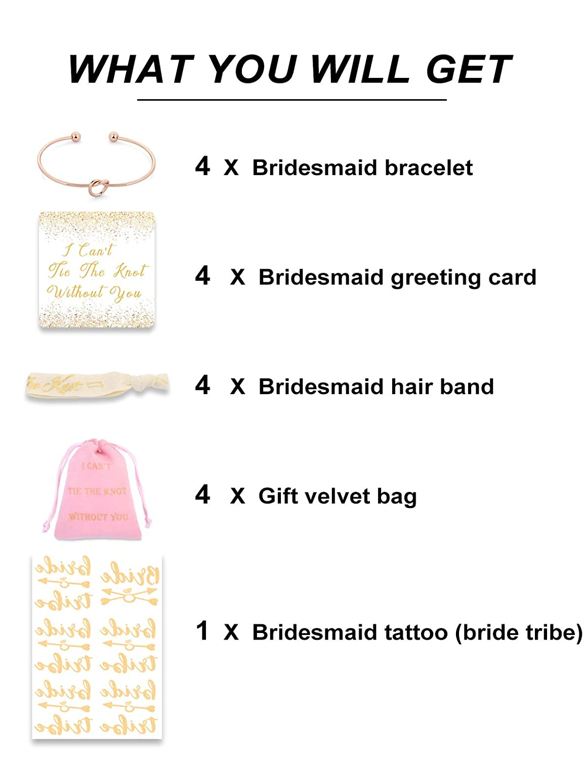 5 6 4 Bridesmaid Gifts I Cant Tie The Knot Without You Must Have Bracelets with Cards -Set of 1 7