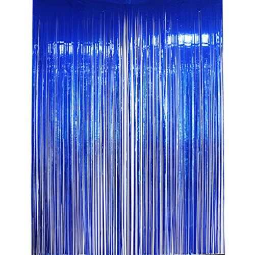 AZOWA Metallic Blue Foil Fringe Curtain Shiny Photo Background Party Decoration 6.6 ft X 9.8 ft