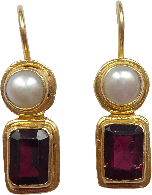 altmo dische rectangular de color granate pendientes rojo perlas colgador gancho cierre plata dorado Mano única. Fabricado en italy Florenz