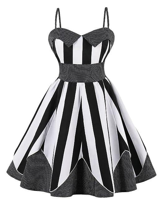 Kasen Mujeres Vestido Sin Mangas de la Vendimia Vestido Vintage Rockabilly 1950s Vestidos Negro S