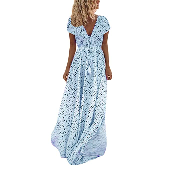 Ladies Womens Long Maxi Dress Short Sleeve Summer Elegant Beach Party Printed