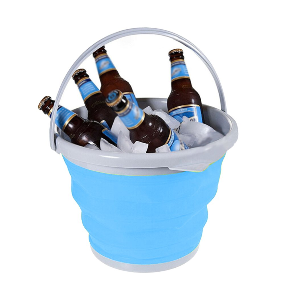 Samber 5L Car Retractable Telescopic Folding Ice Beer Wine Bucket Outdoor Home Portable Storage Bucket (Blue)