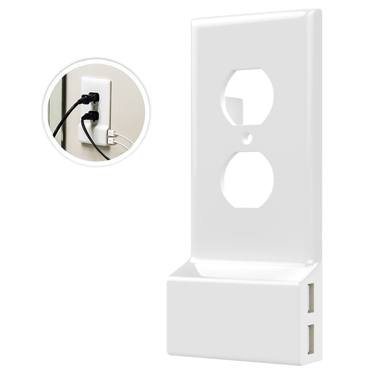 MoKo USB Outlet Wall Plate, Duplex Upgrade Version Snap On Power Wall Outlet Cover Plate Replacement with 2 USB Charging Ports for Cellphones, Tablets, Fire Stick, Power Bank - White
