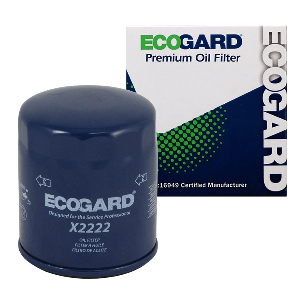 ECOGARD X2222 Spin-On Engine Oil Filter for Conventional Oil - Premium Replacement Fits Chevrolet Silverado 1500, Malibu, Tahoe, Silverado 2500 HD, Suburban 1500, Express 2500, Traverse, Express 3500
