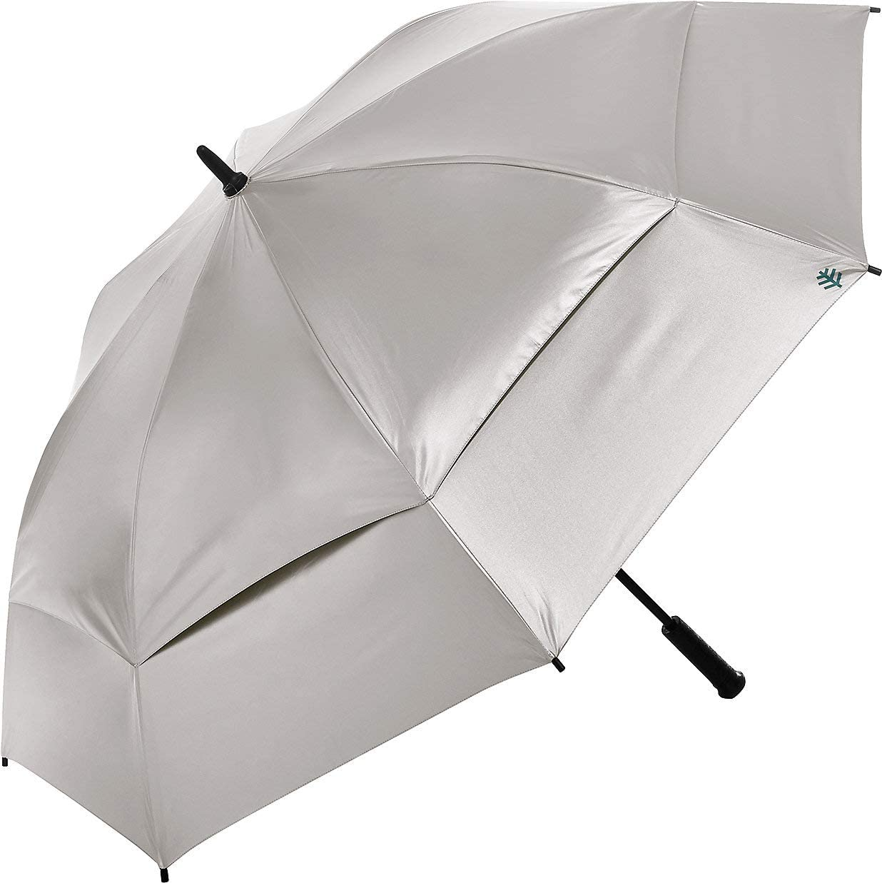 Coolibar UPF 50+ 62 Inch Tournament Golf Umbrella - Sun Protective (One Size- Silver/Green)