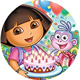 """Dora the Explorer Edible Image Diego Nick Jr Photo Sugar Frosting Icing Cake Topper Sheet Birthday Party - 8"""" ROUND - 10513"""