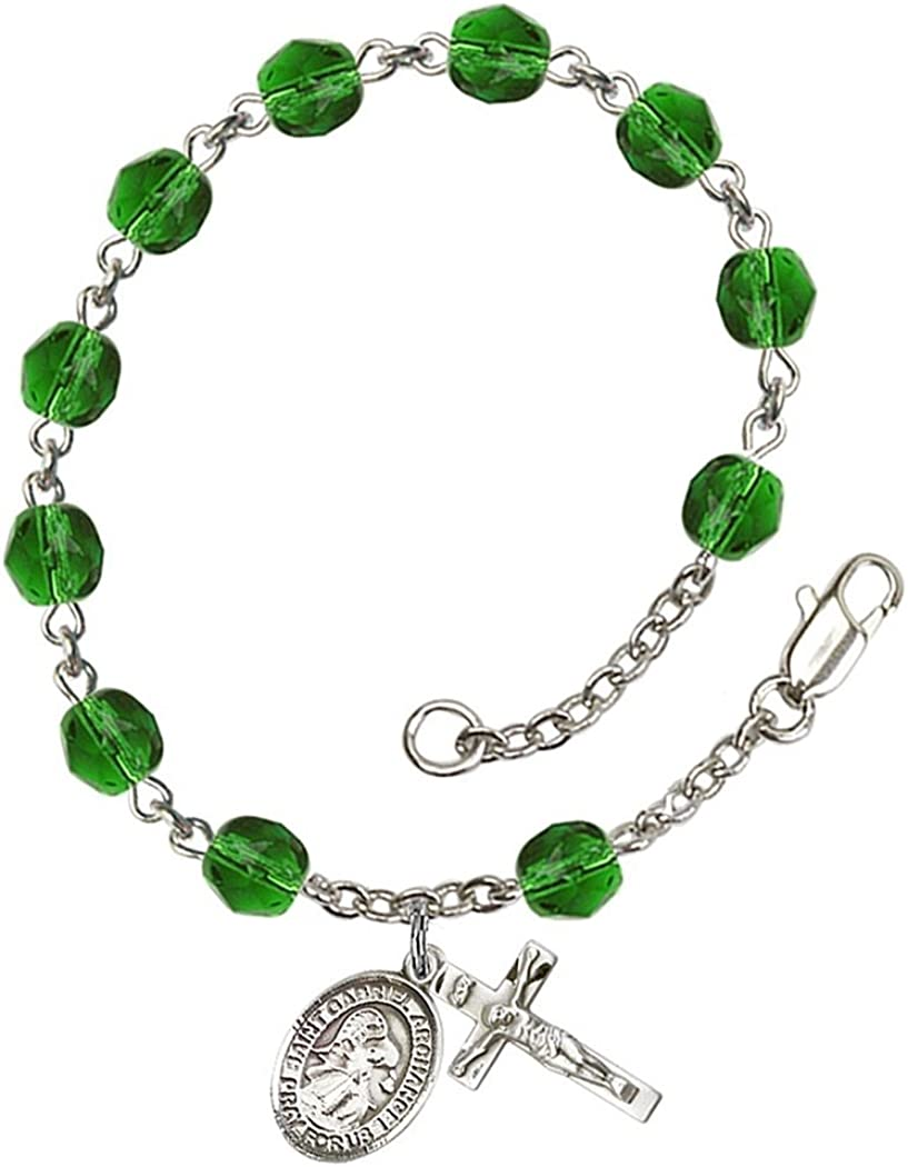 18-Inch Rhodium Plated Necklace with 6mm Sapphire Birthstone Beads and Sterling Silver Saint Paula Charm.