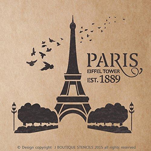 J BOUTIQUE STENCILS Paris Eiffel Tower EST.1889 for Painting Signs Crafting DIY Wall decor - Artistic stencil