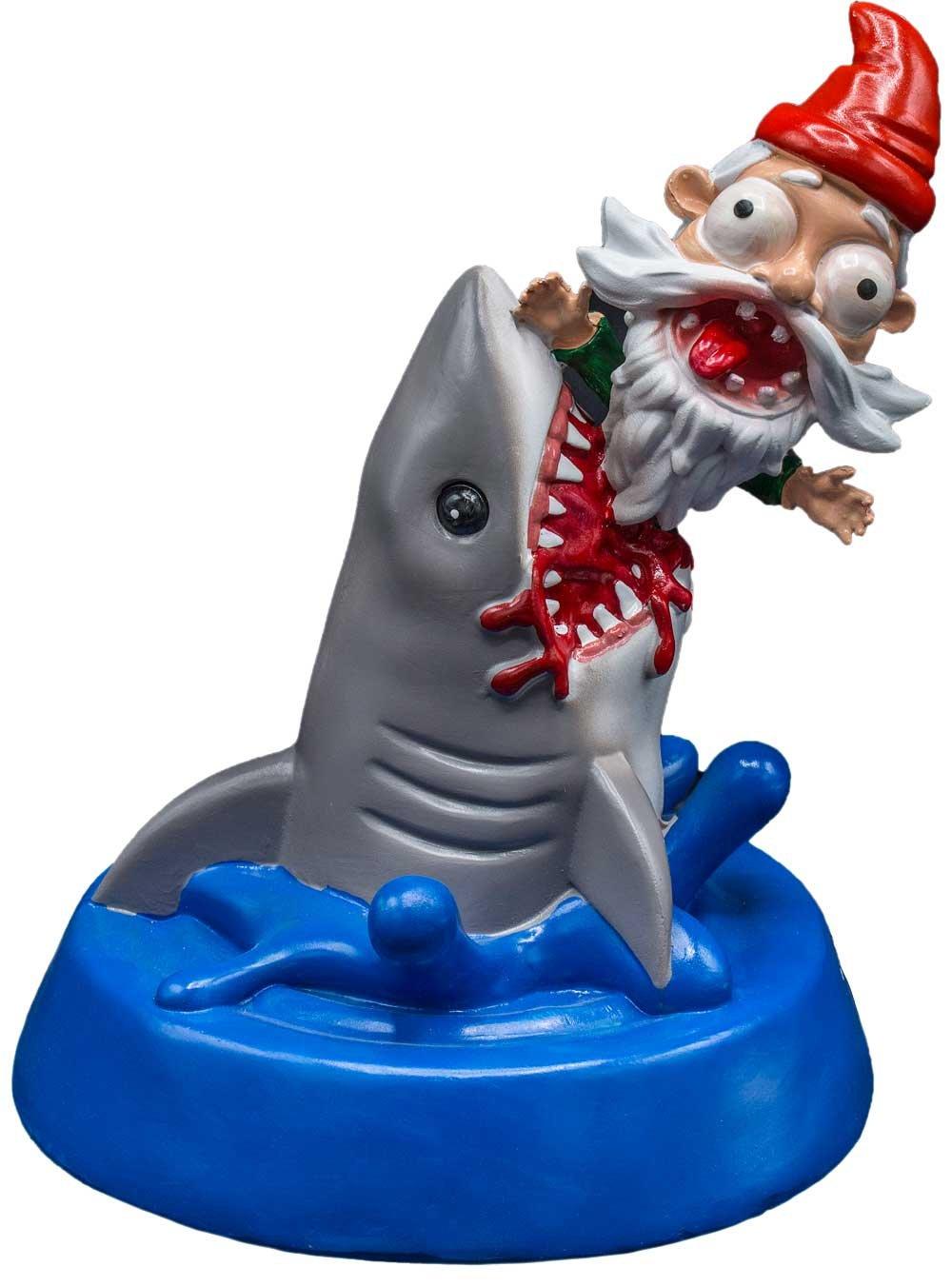 Patio Eden - Shark Attack - Funny Garden Gnome Statue - Hilarious White Elephant or Novelty Gift Idea
