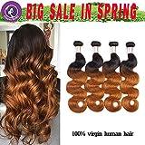 Finest Remy Big Sales 7A Ombre Brazilian Virgin Body Wave Human Hair 4 Bundles  Double Weft Extensions (16161818, 1B/30)