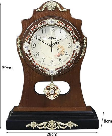 Clock Lanna Shop- European Retro Noble Wood Living Room Desk Decoration