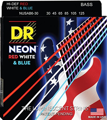 DR Strings NUSAB6-30 Coated Nickel 6-String Bass Guitar Strings, Medium, 30-125, Neon Red/White/Blue