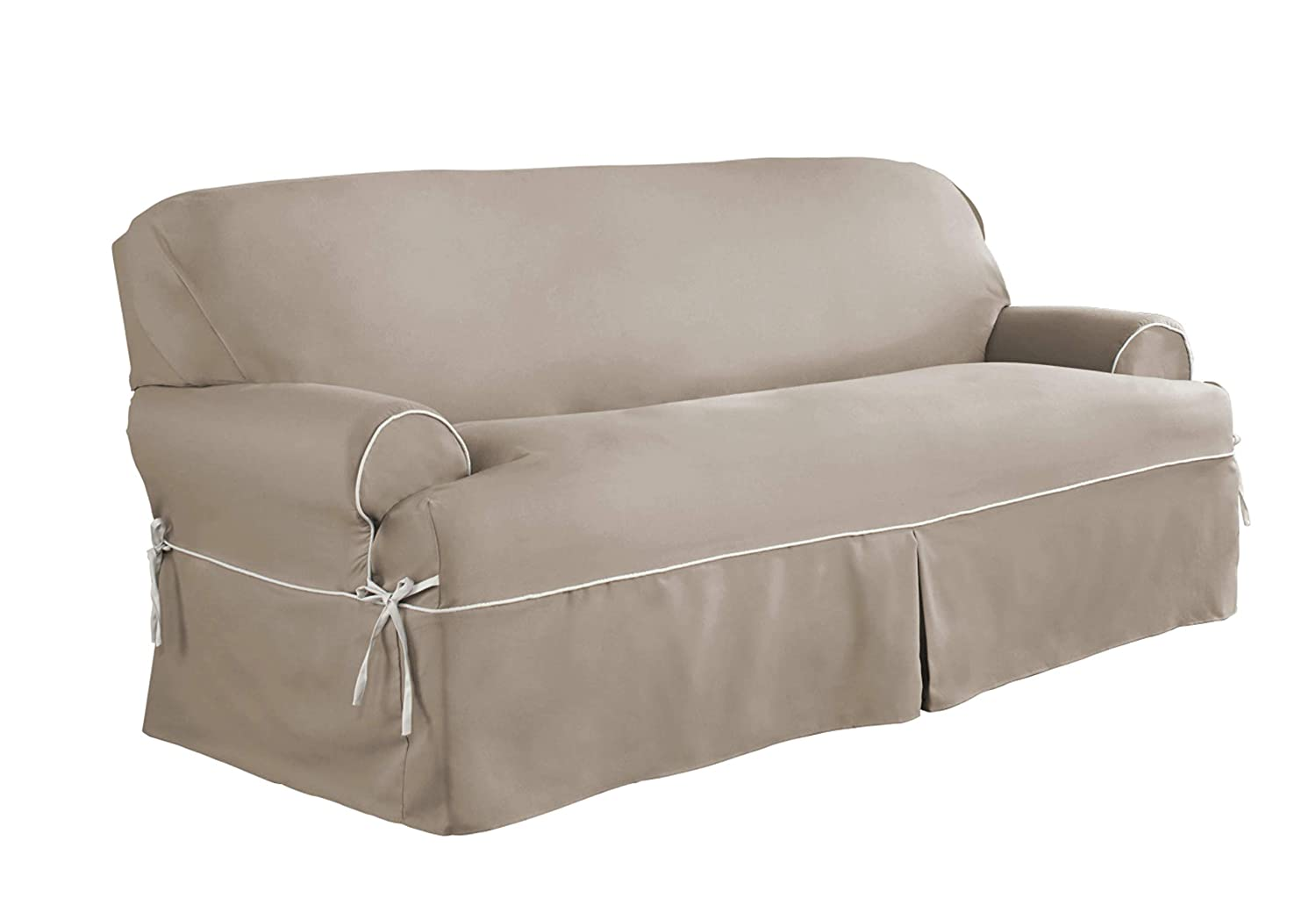 Serta | Relaxed Fit Durable Cotton Twill Canvas Furniture Slipcover, Reversible Fabric (T-Chair, Taupe/Ivory) 038533834472
