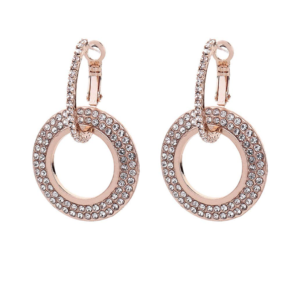 Togethluer Rhinestone Double Circle Hoop Huggie Earrings,Women Fashion Party Jewelry Charm Rose Gold