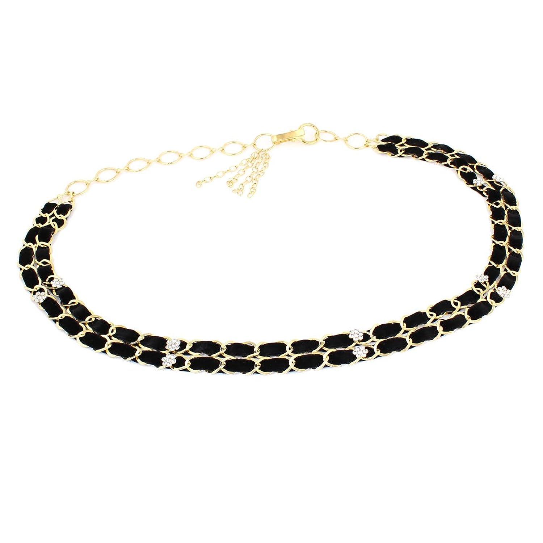 Women Glittery Flower Design Crystals Decor Metal Waist Chain Black Gold Tone
