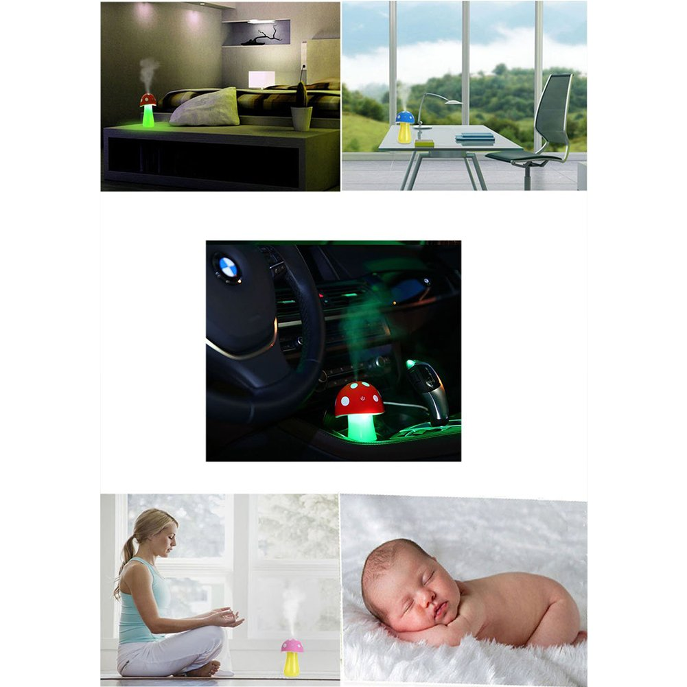 Topbeu Creative Mushroom Shape Ultrasonic Cool Mist USB Baby Room Bedroom Spa Car Humidifier with Auto Shut-off Function (Red) by Topbeu (Image #6)