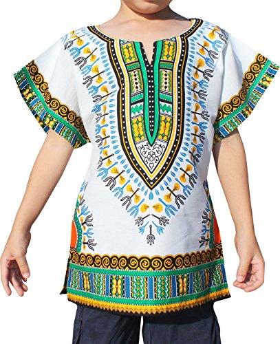 Raan Pah Muang Unisex Bright African White Children Dashiki Cotton Shirt, 1-3 Years, White Green Orange (Cultural Dress Up Clothes)