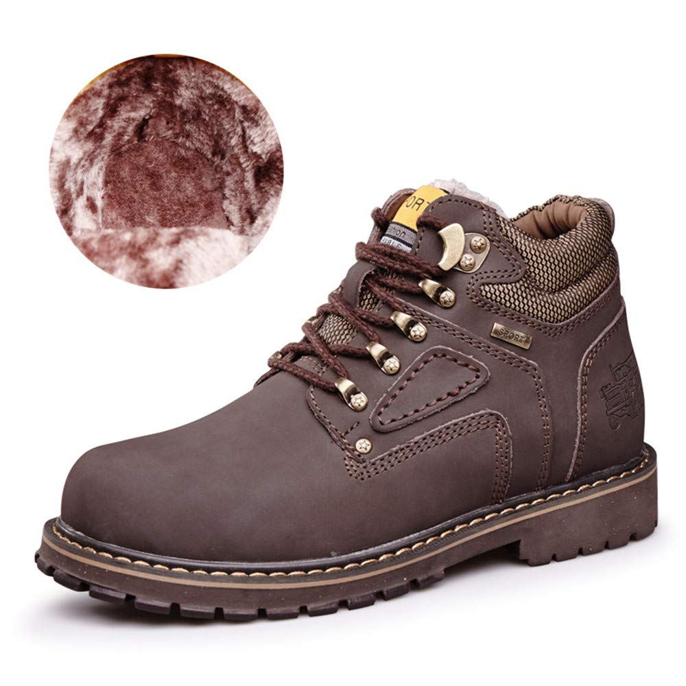 US CHENJUAN Shoes Mens Ankle Boots Casual Classic Round Top High Top Cotton Warm Outsole Work Shoes Color : Wark Dark Brown, Size : 9.5 D M Conventional Optional