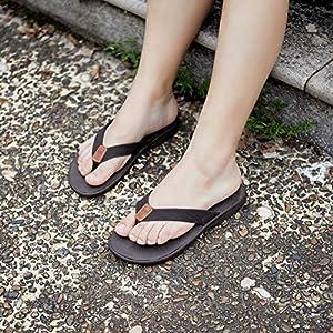 KUAILU Womens Flip Flops Foam Arch Support Leather Thong