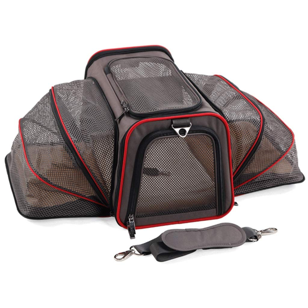 Brown 46x28x28cmPet Car Seat Convenient Double Expand Grid Breathable Household Cats and Dogs Universal Cage Outdoor Travel Picnic Pet Shoulder Bag (color   Black, Size   48.5x30x30cm)