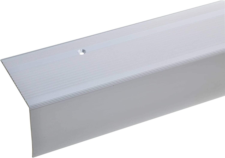 acerto 38022 Perfil angular de escalera de aluminio - 100cm 55x69mm plateado * Antideslizante * Robusto * Fácil instalación | Perfil de borde de escalera perfil de peldaño de escalera: Amazon.es: Bricolaje y herramientas
