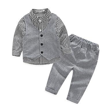 aee482901dd01 (ボッパル) BHODPER キッズフォーマル 子供スーツ ベスト+長袖シャツ+ロングパンツ3