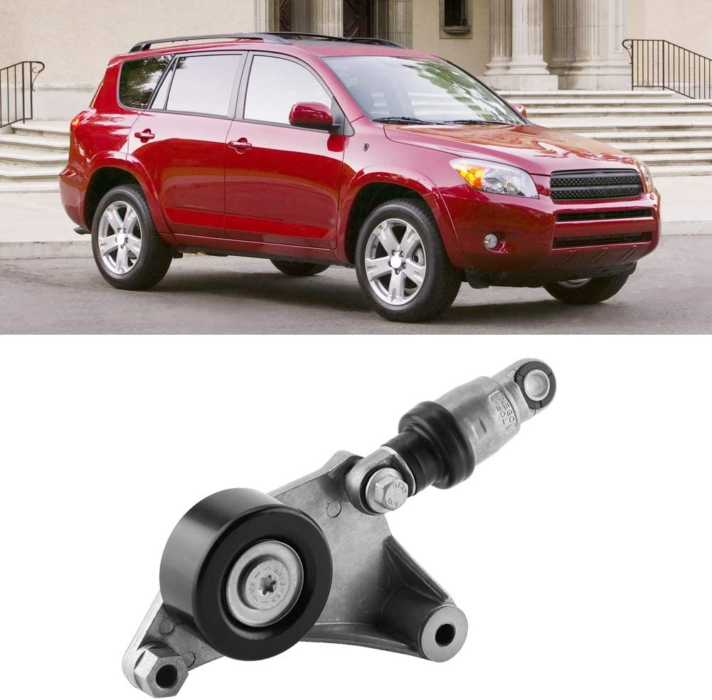Qiilu 16620-28011 Car Professional Automatic Belt Tensioner and Pulley Assembly for Toyota RAV4 Camry