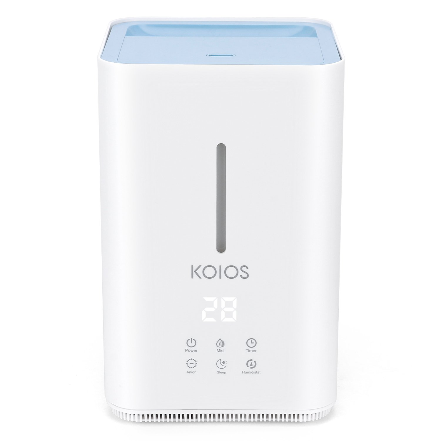 Humidifier, Koios Ultrasonic Cool Mist 4L Humidifier, Open Water Tank, Top Fill Water, 3 Adjustable Mist Levels, Sleep Mode, Whisper-Quiet , Real-Time Detection of Humidity for Baby Home and Office