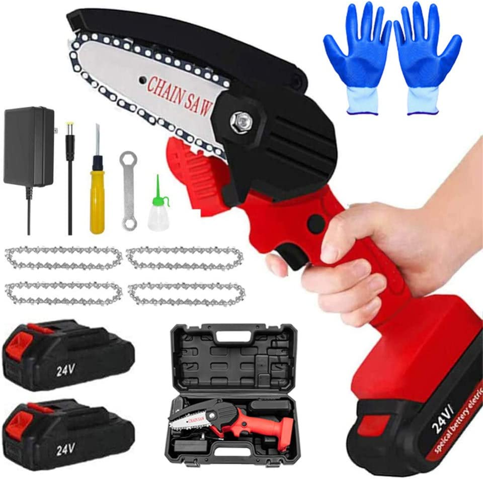 24V Mini Cordless Electric Chainsaw 550W Mini Chainsaw 4-Inch Cordless Electric Protable Chainsaw with Rechargeable Battery Pruning Shears Chainsaw for Tree Branch Wood Cutting YAGMGUS