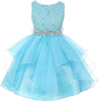 8f1dd2e54 Little Girl Flower Girl Dress Sequin Lace Top Rhinestone Belt & Ruffle Skirt  Turquoise 4 MBK357