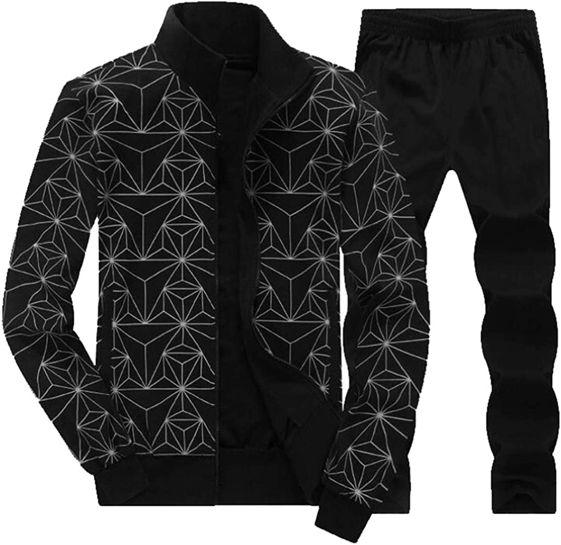 XQS Mens Winter Jogging Full Zip Sweat Suit Casual Sports Running Tracksuit