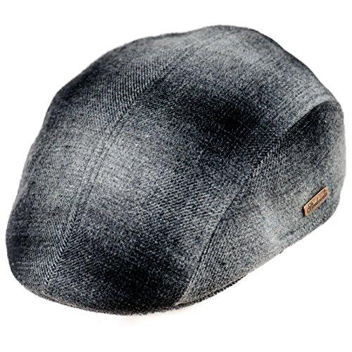 Sterkowski Men's Wool Ivy League Flat Cap with Earflap US 7 1/2 Dark/Light Gray