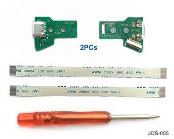 2PCs JDS-055 Replacement Placa Controlador conectores de carga Micro USB para mando PS4, Tarjeta micro del cargador de batería del USB Parte ...