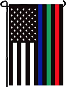 FRF Thin Blue Green and Red Line Garden Flag - Double Sided Support Military Fire Police 12.5 x 18 Inch - Blue Line American Flags Honoring Law Enforcement Officers Yard Outdoor Decor Banner