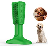 Wisedom Dog Toothbrush Stick-Puppy Dental Care Brushing Stick Effective Doggy Teeth Cleaning Massager Nontoxic Natural Rubber Bite Resistant Chew Toys Dogs Pets (Green Large)