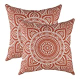 TreeWool 2 Pack Throw Pillow Covers Decorative Mandala Accent Decorative Pillowcases Toss Pillow Cushion Shams Slips Covers for Sofa Couch (22 x 22 Inches/55 x 55 cm; Rust)