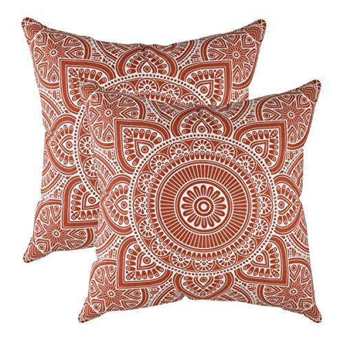 TreeWool Decorative Square Throw Pillow Covers Set Mandala Accent 100% Cotton Cushion Cases Pillowcases (18 x 18 Inches / 45 x 45 cm; Rust in Cream Background) - Pack of 2