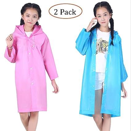 Raincoat Rain Poncho Jacket Slicker Outwear for Children[Thicker & Reusable & Lightweight]Rain&Wind