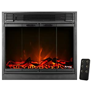e-Flame USA Montreal LED Electric Fireplace Stove Insert with Remote Control 26-inches Wide (Matte Black) Featuring Heater and Fan Settings with Realistic and Brightly Burning Fire and Logs