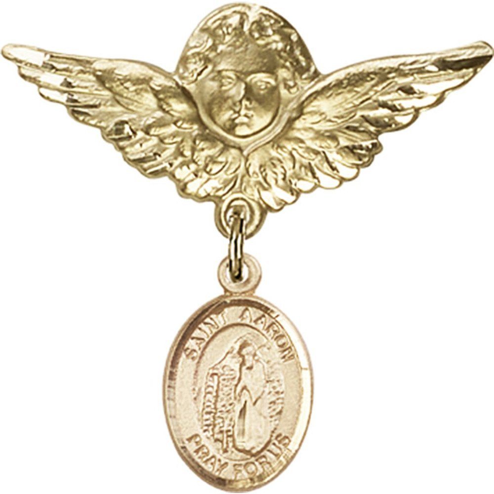 14kt Yellow Gold Baby Badge with St. Aaron Charm and Angel w/Wings Badge Pin 1 1/8 X 1 1/8 inches by Unknown