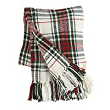 Morgan Home Chenille Plaid Fringe Throw Blanket (Donnal Red Green)