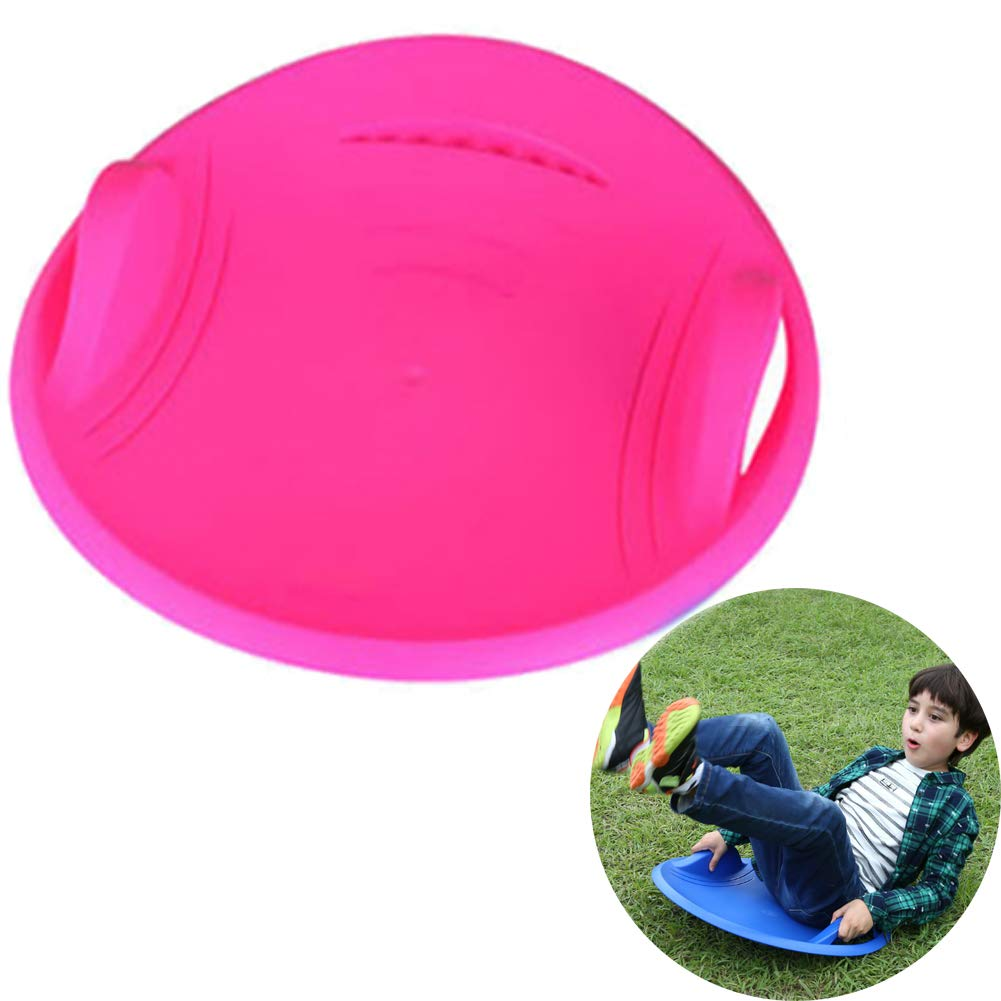 Aquarius CiCi Round Kids Snow Sled Downhill Saucer Disc Plastic Snow Sled Winter Toboggan for Skiing, Grass Skiing