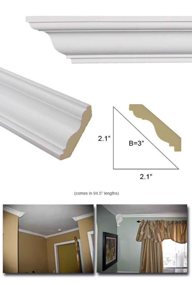 Crown Molding - Polyurethane Crown Moulding Manufactured with a Dense Architectural Compound (Not Styrofoam). Breadth 3''. 7 pcs. Total Length 55 ft.