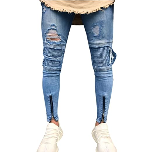 31735d81 Rambling Men's Skinny Slim Fit Straight Ripped Destroyed Distressed Zipper  Stretch Knee Patch Denim Pants Jeans