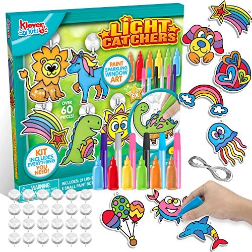24PCS DIY Window Sun Catchers DIY Window Paint Art and Craft Kit, Light Catcher Kids Art Project Set