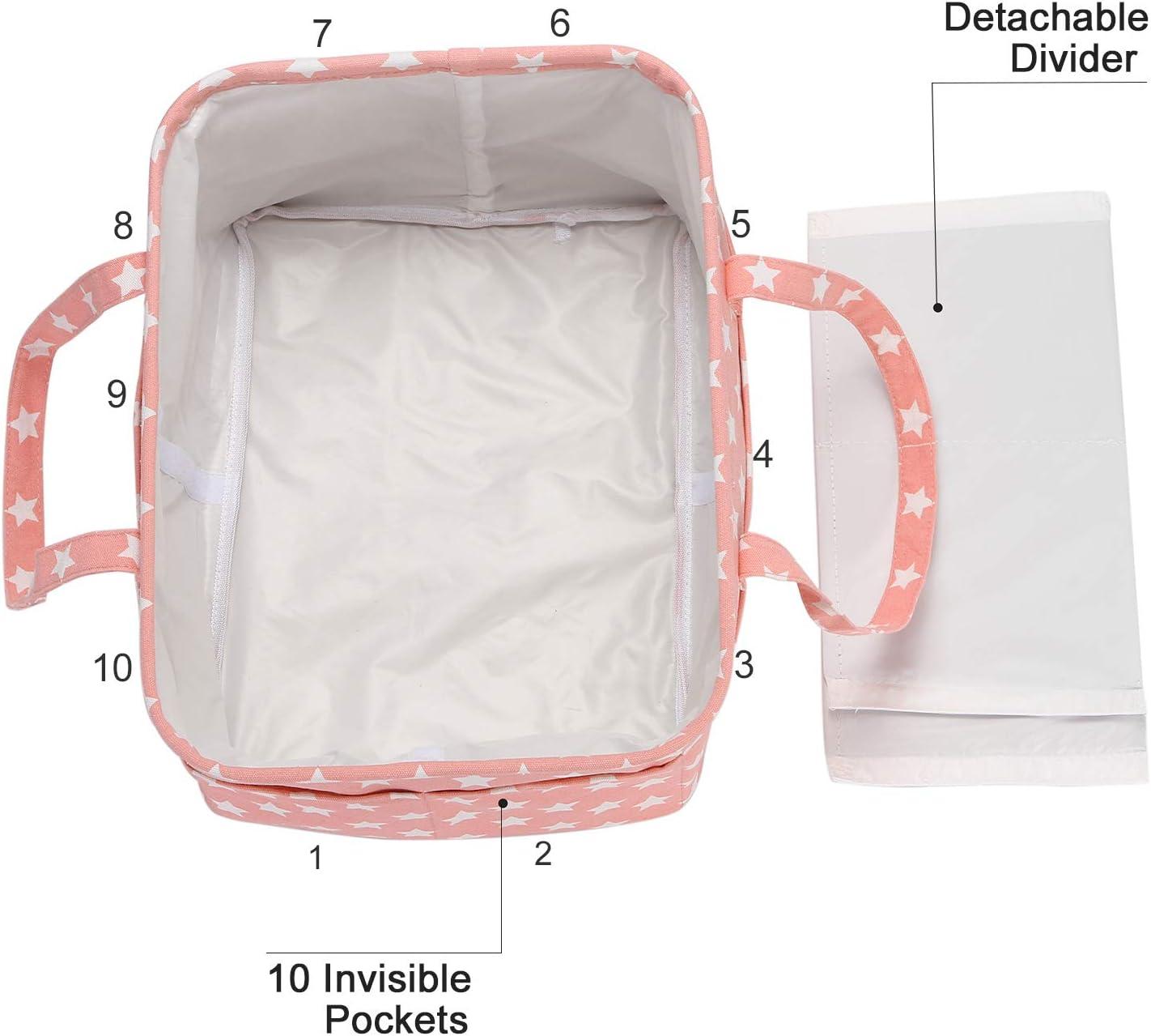 3 compartimentos organizador port/átil para el coche cesta de regalo para reci/én nacidos con divisor desmontable y 10 bolsillos invisibles pa/ñales y toallitas Cesta para pa/ñales de beb/é Hinwo