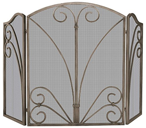 UniFlame 3-Fold Venetian Bronze Screen with Decorative Scrollwork (Venetian Screen 3 Panel)