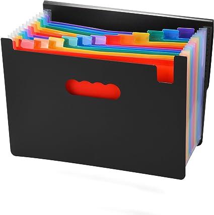 Carpeta Clasificadora de Documentos Carpeta A4 de 12 Compartimentos Carpeta Clasificadora de Acordeon Carpeta de Acorde/ón con Etiquetas Multicolores para Clasificaci/ón